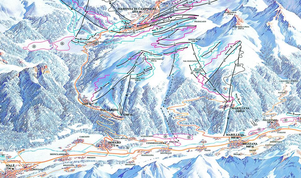 Folgarida Marilleva ski map